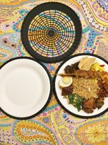 24 zwarte paperplateholders - eetmandjes - picknickbord - BBQ bord - party bord