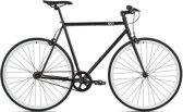 Sportieve fixed gear 6KU zwart/wit met stalen frame 52cm