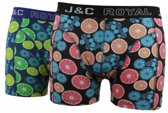 J&C heren short 2-pak Lemons 237  - L  - Blauw