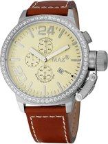 Max Classic Chrono 5 MAX415 Horloge - Leren band - Ø 47 mm - Bruin / Zilverkleurig / Crème kleur