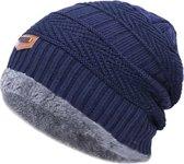 Gebreide Beanie Muts Heren - Bonnet Winter Muts Mannen - Wol - Blauw