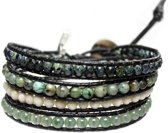 Bela Donaco Wikkel armband Bohemian Green - Afrikaanse Turquoise, Kristal, Fossil facet en Aventurijn