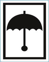 Waarschuwings etiket Zwarte Paraplu, 100x70mm, 500 etik/rol