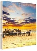 FotoCadeau.nl - Kudde olifanten zonsondergang Hout 120x80 cm - Foto print op Hout (Wanddecoratie)