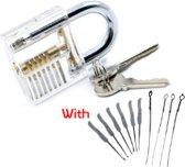 Beginners Oefen Lockpick Set Met Doorzichtig Oefenslot - Lockpicking tool