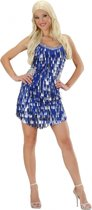 Pailletten jurkje blauw met zilver 40 (l)