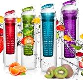 #DoYourFitness - 4x Fruitwater fles - »FruitBottle« - Fruit infuser voor fruitpunches / groente spritzers - 800ml - lila/blauw/groen/rood