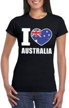 Zwart I love Australie fan shirt dames XS