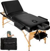 Massagetafel met matras van 10 cm hoog + draagtas, kleur zwart