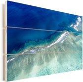Blauwe zee bij de Kust van Ningaloo Vurenhout met planken 90x60 cm - Foto print op Hout (Wanddecoratie)