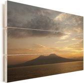 De Vesuvius tijdens de zonsondergang bij Pompeï Vurenhout met planken 120x80 cm - Foto print op Hout (Wanddecoratie)