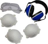 Persoonlijke bescherming 5-delige set - veiligheidsbril / gehoorbeschermer / stofmaskers