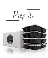 Prep-it® Meal Prep Bakjes – 10 Pack - Drie compartimenten – 3 Vakken – Vershoud Lunchbox – Mealpreppen met deksel – Mealprep containers – BPA vrij – 1000 ml – 1L