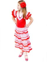 Spaanse jurk - Flamenco - Rood/Wit - Maat 140/146 (12) - Verkleed jurk