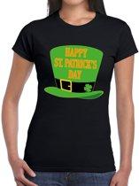 Happy St. Patricksday t-shirt zwart dames 2XL