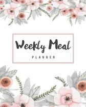 Weekly Meal Planner: Floral Cover - 52 Weeks of Menu Planning Pages with Weekly Shopping List - Meal Food Prep Planner Calendar & Grocery L