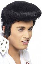Zwarte Elvis pruik voor heren