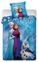 Disney Frozen Sisters & Olaf - Dekbedovertrek - Eenperpersoons - 140 x 200 cm - Blauw