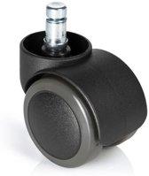 hjh office - Bureaustoelwielen - Instelbare klem voor harde vloeren - 10mm / 50mm - Set van 5 - Zwart