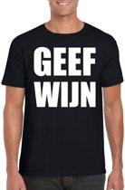 Geef Wijn heren shirt zwart - Heren feest t-shirts 2XL