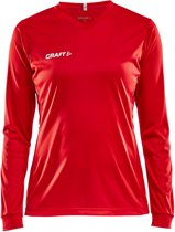 Craft Squad Jersey Solid LS Shirt dames Sportshirt - Maat M  - Vrouwen - rood/wit