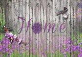 Fotobehang Home Flowers Birds Wood Purple | XXL - 312cm x 219cm | 130g/m2 Vlies