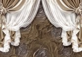 Fotobehang Brown Curtains   XXXL - 416cm x 254cm   130g/m2 Vlies