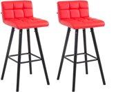 Clp Lincoln V2 - Set van 2 barkrukken - Kunstleer - Rood Zwart