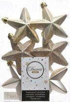 6x Licht parel/champagne sterren kerstballen 7 cm - Glans/mat/glitter - Onbreekbare plastic kerstballen - Kerstboomversiering licht parel/champagne