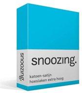 Snoozing - Katoen-satijn - Hoeslaken - Lits-jumeaux - Extra Hoog - 200x220 cm - Turquoise