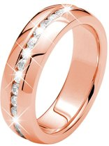 Lucardi Stalen Rose Plated Ring - Met Zirkonia - Maat 60