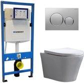 Geberit UP 320 Toiletset - Inbouw WC Hangtoilet Wandcloset - Saturna Sigma-20 Mat/Glans Chroom