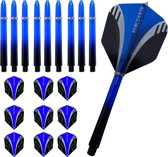 ABC Dart Flights en Darts Shafts Medium - Tribal blauw - 3 sets