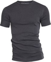 Garage 301 - T-shirt R-neck semi bodyfit anthra melee S 100% cotton 1x1 rib