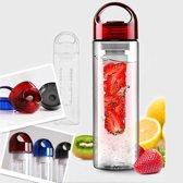 Rode Fruit Infuser Waterfles met fruit filter 700 ML BPA vrij