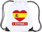 Spanje nylon rijgkoord rugzak/ sporttas wit met Spaanse vlag in hart
