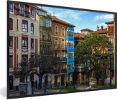 Foto in lijst - Kleurrijke huizen in Panama Stad fotolijst zwart 60x40 cm - Poster in lijst (Wanddecoratie woonkamer / slaapkamer)