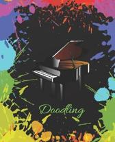Black Piano Colorful Splatter Cute Gift Sketch Book Blank Paper Pad Journal for Doodling Sketching Coloring or Writing
