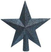 1x Donkerblauwe glitter ster kerstboom piek kunststof 19 cm  - Donkerblauwe kerstboom versieringen