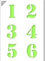 Cijfersjabloon - 1 2 3 4 5 6 - Kunststof A3 stencil - Kindvriendelijk sjabloon geschikt voor graffiti, airbrush, schilderen, muren, meubilair, taarten en andere doeleinden