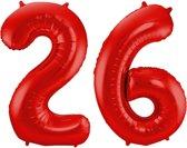Cijfer 26 Rood Helium 86 cm