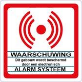 Beveiligingsstickers. Alarm Systeem sticker. 12 stickers wit. ( achterkant plakt. ) 8 cm x 8 cm.