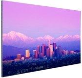 Los Angeles in het paarse avondlicht Aluminium 60x40 cm - Foto print op Aluminium (metaal wanddecoratie)