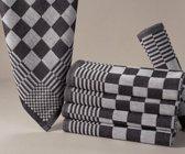 Homéé® Blokdoeken - Pompdoeken - Theedoeken zwart / wit - set van 6 - 70x70cm