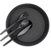 Plastic borden & bestek Voordeelset DeLuxe PS/Zwart (200 borden + 3 x 200 bestek)