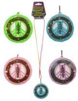 Peaceteken aan koord en licht 55 cm diverse kleuren