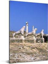 De marmeren Leeuwen van Delos in Griekenland Aluminium 20x30 cm - klein - Foto print op Aluminium (metaal wanddecoratie)