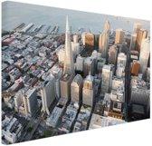 Centrum San Francisco Canvas 30x20 cm - klein - Foto print op Canvas schilderij (Wanddecoratie woonkamer / slaapkamer) / Steden Canvas Schilderijen