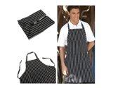 Keuken Schort Volwassen 2 Zakken Chef Ober Short Zwart met strepen