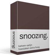 Snoozing - Katoen-satijn - Hoeslaken - Lits-jumeaux - Extra Hoog - 160x220 cm - Bruin